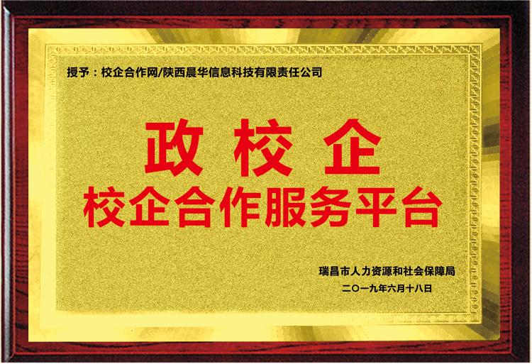 """江西省瑞昌市人社局授予我司""""政校企校企合作服务平台""""铜牌"""